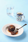 Chocolate Brownie with Caramel Sauce Royalty Free Stock Photography