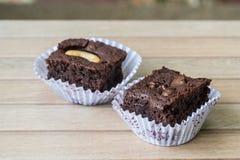 Chocolate brownie and cashew cupcake, fresh homemade Stock Photos