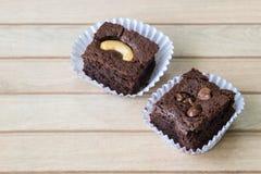 Chocolate brownie and cashew cupcake, fresh homemade Stock Photo