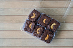 Chocolate brownie and cashew cupcake, fresh homemade Royalty Free Stock Images