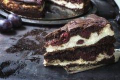 Chocolate brownie cheesecake on dark background. Selective focus Stock Photos