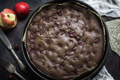 Chocolate brownie cheesecake on dark background. Selective focus Royalty Free Stock Photography