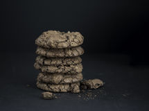 Chocolate brownie cookies. On black background Royalty Free Stock Images