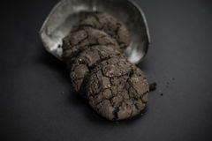 Chocolate brownie cookies. On black background Stock Images