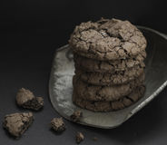 Chocolate brownie cookies. On black background Royalty Free Stock Photography