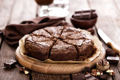 Chocolate brownie. Dessert with nuts Royalty Free Stock Images