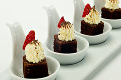 Chocolate Brownie Dessert Spoons Royalty Free Stock Photography