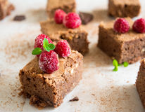 Chocolate brownie. Is favorite dessert of every chocoholic. Raspberry and mint perfectly accentuate the taste of chocolate Royalty Free Stock Photo
