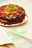 Chocolate brownie with fruits Stock Image