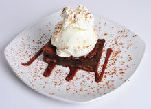 Chocolate Brownie with Ice Cream. Desert or pudding royalty free stock photo