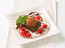 Chocolate Brownie with ice cream and raspberries Stock Image
