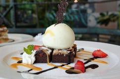 Chocolate Brownie with Ice Cream Stock Photos
