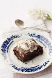 Chocolate brownie with ice cream on top Royalty Free Stock Images