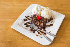 Chocolate brownie icecream Royalty Free Stock Photography