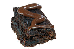 Chocolate brownie with icing Stock Photography