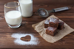 Chocolate brownie with milk Royalty Free Stock Images