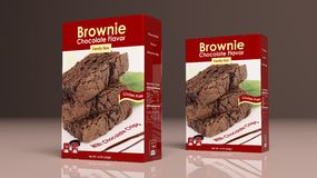 Chocolate brownie mix paper packages. 3d illustration. Chocolate brownie mix paper packages on colored background. 3d illustration Stock Photos