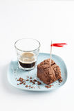 Chocolate Brownie On Plate Served With Espresso Shot Stock Photos