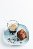 Chocolate Brownie On Plate Served With Espresso Shot Stock Image