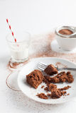 Chocolate Brownie On Plate Served With Milk And Sifter Royalty Free Stock Photo