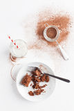 Chocolate Brownie On Plate Served With Milk And Sifter Royalty Free Stock Images