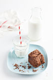 Chocolate Brownie On Plate Served With Milk Royalty Free Stock Images