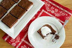 Chocolate brownie portions royalty free stock photography
