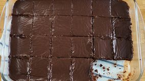 Chocolate brownie portions stock image