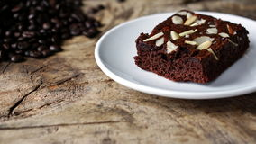 Chocolate Brownie. Put on a wood table Stock Photos