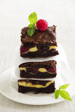 Chocolate brownie with raspberries Stock Photo