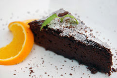 Chocolate Brownie with slice of orange Stock Photography