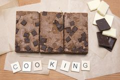 Chocolate brownie slices with raspberries Stock Photography