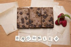 Chocolate brownie slices with raspberries Royalty Free Stock Photo