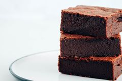 Chocolate brownie. Chocolate brownie tower. Royalty Free Stock Photography
