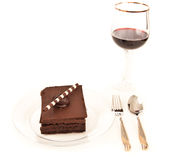 Chocolate brownie and wine background Royalty Free Stock Image