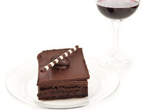 Chocolate brownie and wine background Royalty Free Stock Photography