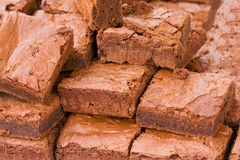 Chocolate brownies. Close up of chocolate brownies from a market stand Stock Image