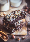 Chocolate brownies with almonds Stock Photo