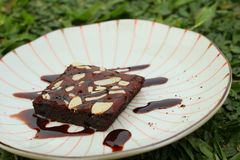 Chocolate Brownies cake on a white plate. Royalty Free Stock Photography
