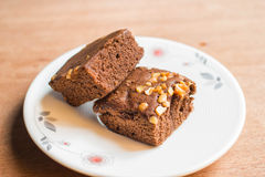 Chocolate Brownies. With cashew nuts Stock Photo