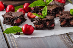 Chocolate brownies with cherries Stock Photos