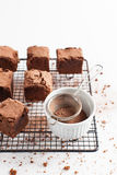 Chocolate Brownies On Cooling Rack Royalty Free Stock Photography