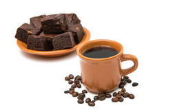 Chocolate brownies  and cup of coffee Royalty Free Stock Photos