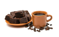 Chocolate brownies  and cup of coffee Royalty Free Stock Images