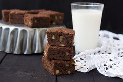 Chocolate brownies on a dark background.  Royalty Free Stock Photos
