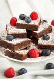 Chocolate brownies decorated with fresh berries Royalty Free Stock Images
