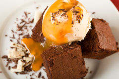 The Chocolate Brownies with Ice Cream Stock Image