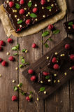 Chocolate brownies with mint. Raspberry and white chocolate Stock Photography