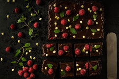 Chocolate brownies with mint. Raspberry and white chocolate Stock Image