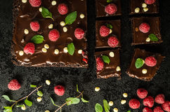 Chocolate brownies with mint. Raspberry and white chocolate Stock Images